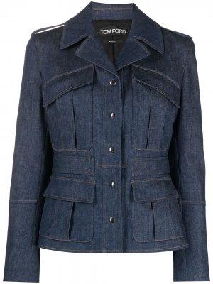 Приталенная джинсовая куртка TOM FORD. Цвет: синий