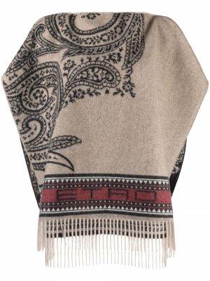 Paisley-pattern fringed poncho ETRO. Цвет: нейтральные цвета