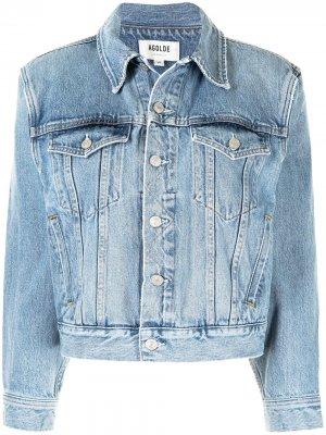 Джинсовая куртка со сборками AGOLDE. Цвет: синий