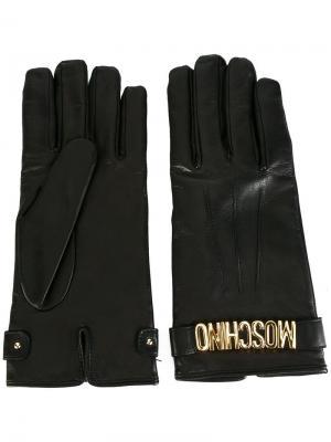 Укороченные перчатки Moschino. Цвет: чёрный