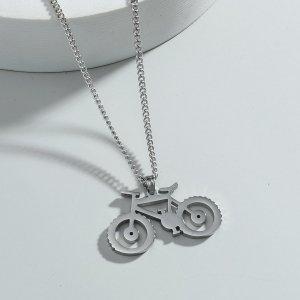 Мужское ожерелье с велосипедом SHEIN. Цвет: серебряные