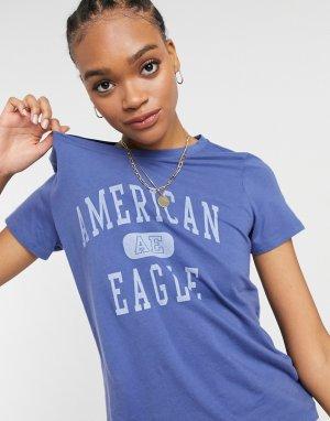 Синяя классическая футболка -Голубой American Eagle