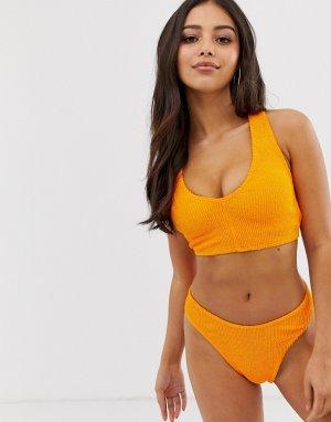 Оранжевый укороченный бикини-топ для большой груди со спиной-борцовкой и эффектом помятости ASOS DESIGN