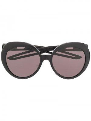 Солнцезащитные очки-бабочки Hybrid Balenciaga. Цвет: черный