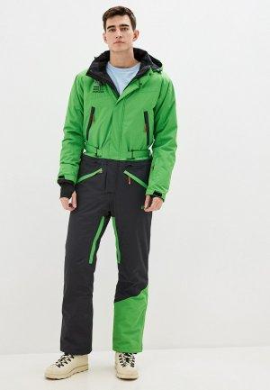 Комбинезон сноубордический High Experience. Цвет: зеленый