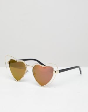 Солнцезащитные очки кошачий глаз с оправой в форме сердца и золотисто-розовыми стеклами -Золотой AJ Morgan