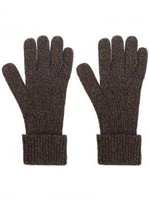 Перчатки в рубчик N.Peal. Цвет: коричневый