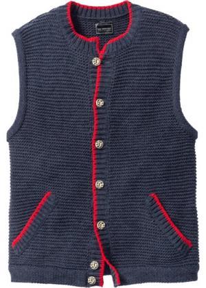 Вязаный жилет Regular Fit в традиционном стиле (темно-синий меланж) bonprix. Цвет: темно-синий меланж