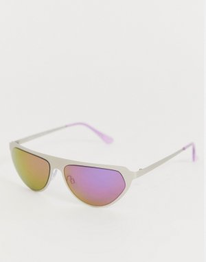 Солнцезащитные очки в серебристой оправе AJ Morgan. Цвет: серебряный
