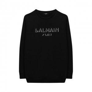 Хлопковый свитшот Balmain. Цвет: чёрный