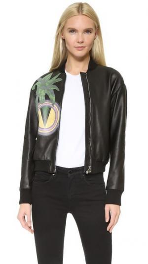 Кожаная куртка Versus. Цвет: черный мульти