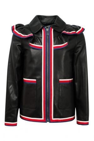 Кожаная куртка с воланом Gucci Children. Цвет: черный