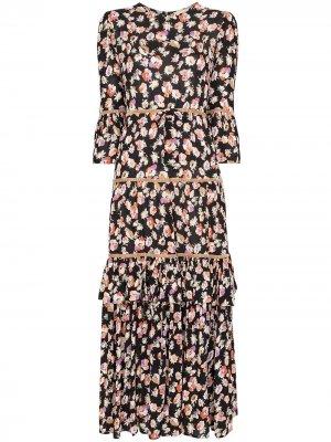 Платье миди с цветочным принтом byTiMo. Цвет: разноцветный