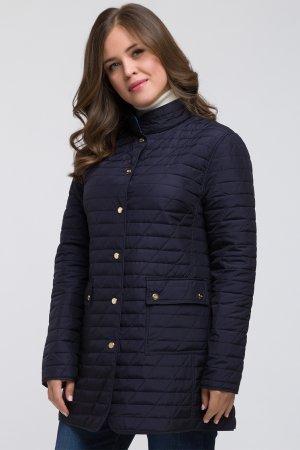 Длинная полуприталенная куртка для большого размера Dixi Coat. Цвет: синий