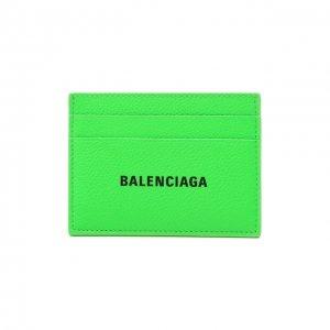 Кожаный футляр для кредитных карт Balenciaga. Цвет: зелёный