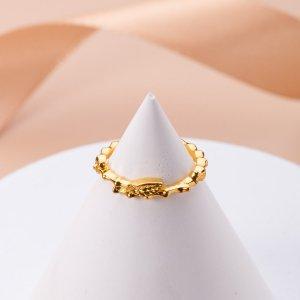 Кольцо с декором листьев для девочек SHEIN. Цвет: золотистый