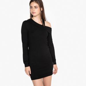 Платье-пуловер асимметричное LPB WOMAN. Цвет: черный