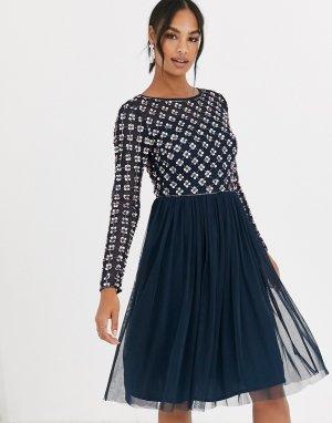 Платье мини с длинными рукавами и отделкой ANGELEYE-Темно-синий AngelEye