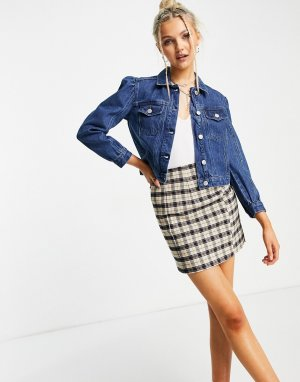 Джинсовая куртка с объемными рукавами -Голубой Miss Selfridge Petite