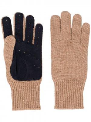 Трикотажные перчатки со вставками Brunello Cucinelli. Цвет: коричневый