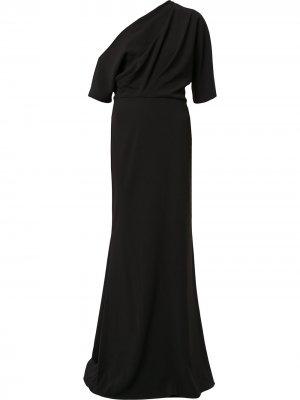 Вечернее платье с открытыми плечами Badgley Mischka. Цвет: черный