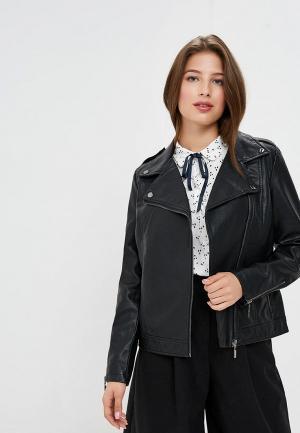 Куртка кожаная Sela. Цвет: черный