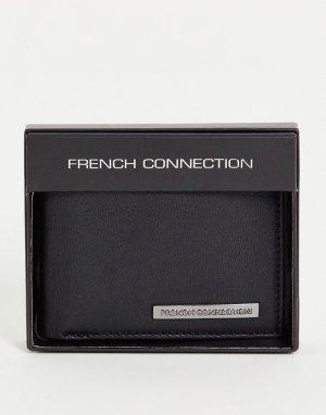 Черный бумажник классического складного дизайна с металлической планкой -Черный цвет French Connection