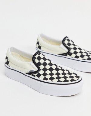 Черно-белые кеды на платформе без застежки в шахматную клетку Classic-Черный цвет Vans