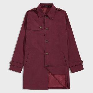 Мужское однобортное пальто-тренч с карманом SHEIN. Цвет: бургундия
