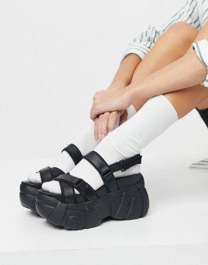 Черные сандалии на массивной платформе в спортивном стиле Talk-Черный цвет ASOS DESIGN