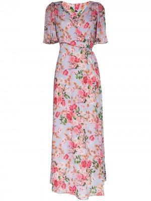 Платье с запахом и цветочным принтом byTiMo. Цвет: синий