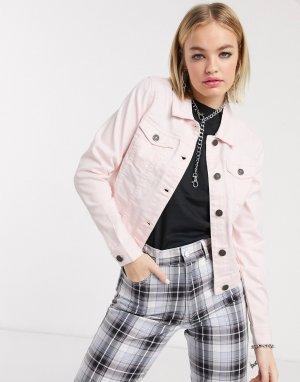 Розовая джинсовая куртка -Розовый Noisy May