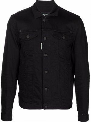 Куртка-рубашка с логотипом Dsquared2. Цвет: черный