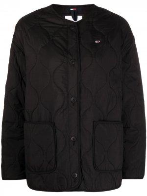 Стеганая куртка без воротника Tommy Jeans. Цвет: черный
