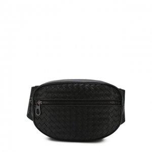 Кожаная поясная сумка Bottega Veneta. Цвет: чёрный