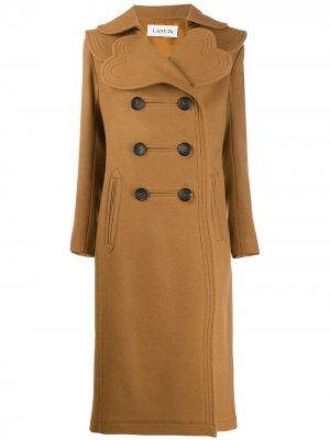 Двубортное пальто LANVIN. Цвет: коричневый