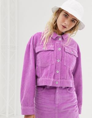Джинсовая укороченная куртка COLLUSION. Цвет: фиолетовый