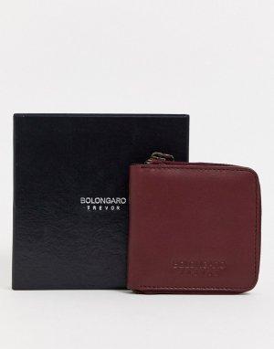 Кожаный бумажник на молнии -Красный Bolongaro Trevor