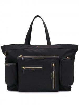 Большая сумка-тоут с карманами Anya Hindmarch. Цвет: черный
