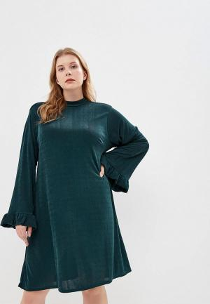 Платье LOST INK PLUS SWING DRESS IN SLINKY. Цвет: зеленый