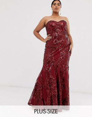 Платье макси бандо с пайетками -Красный Club L London Plus