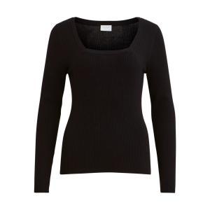 Пуловер с квадратным вырезом из тонкого трикотажа VILA. Цвет: черный