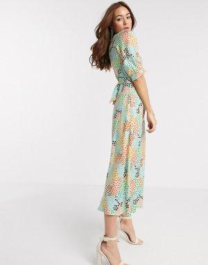 Платье миди с разноцветным абстрактным принтом в горошек -Мульти Closet London
