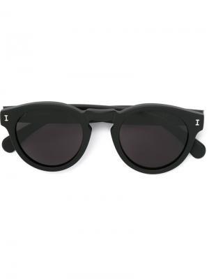 Солнцезащитные очки с круглой оправой Illesteva. Цвет: чёрный