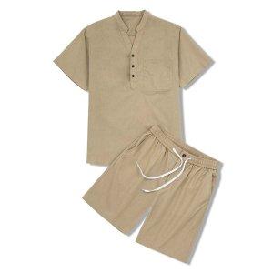 Мужская рубашка и шорты на кулиске SHEIN. Цвет: хаки
