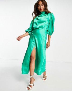 Изумрудно-зеленое атласное чайное платье миди со свободным воротом с драпировкой и пышными рукавами -Зеленый цвет ASOS DESIGN