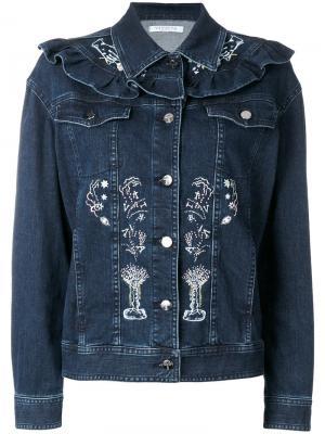 Джинсовая куртка с вышивкой Vivetta. Цвет: синий