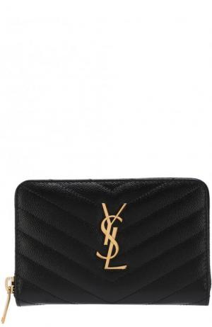 Кожаный кошелек Monogram на молнии с логотипом бренда Saint Laurent. Цвет: черный