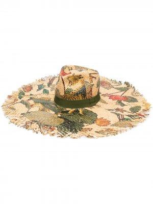 Шляпа с цветочным принтом ETRO. Цвет: нейтральные цвета