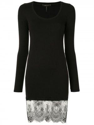 Платье мини с кружевной вставкой BCBG Max Azria. Цвет: черный